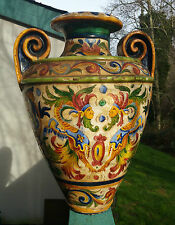 URN 1900 DERUTA DRAGON antique vtg italian art pottery san savino umbria vase