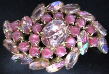 Beautiful Pink Rhinestone Glass Cabochon Vintage Pin