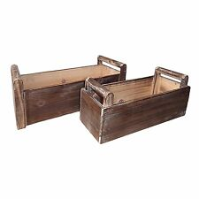 Cheung's FP-3506-2 Set of 2 Wooden Rectangular Ledge Planter with Handle