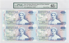 "1992 New Zealand ""UNCUT SHEET OF FOUR"" 10 Dollars PMG 65 EPQ GEM UNC P#: 178c"
