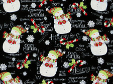 """26"""" REMNANT  HOORAY FOR SNOW  SNOWMAN CHRISTMAS COTTON FABRIC  SPRINGS CREATIVE"""