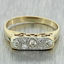 1920s Antique Art Deco 14k Solid Yellow Gold .20ctw Diamond Filigree Band Ring