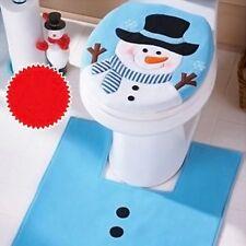 2× Weihnachten Dekoration Mode Schneemann WC Sitz Deckel Teppich Badezimmer Set