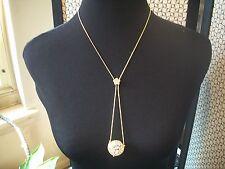 NOLAN MILLER Signed .Necklace Beautiful Goldtone Crystal Ball Pendant NEW