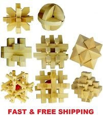 Kongming locks 3D Wooden Cube Brain Teaser Puzzle Toys Set of 8