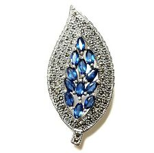 SAPPHIRE CZ Gems LEAF Brooch Pin Marcasite Studded .925 Sterling Silver