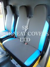 CITROEN DISPATCH VAN SEAT COVERS 2007 EBONY BLACK+BLUE LEATHERETTE