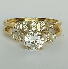 1.35 C 10k yellow Gold 2 piece solitaire round Engagement Wedding Ring Set  s 7