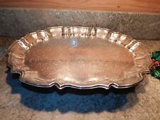 Vintage Leonard Silverplate Oval Footed Serving Tray 14¼ x 11¼ x 2