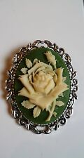 Green and Cream Rose Brooch Medieval Pin Pagan Gothic Cameo Wedding Silver tone
