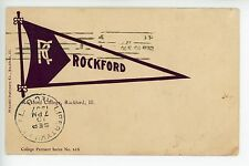 Rockford University ILLINOIS College Pennant Series Antique Postcard ca. 1907