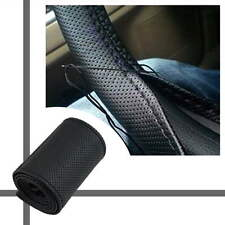 DIY Leather Car Auto Steering Wheel Cover With Needles and Thread Black  BE