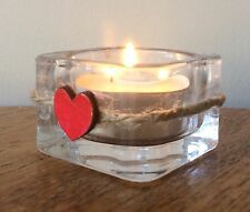 Rustic Square Glass Tealight Holder With Red Wooden Heart And Twine Decoration