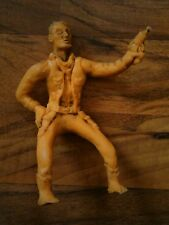old vintage toy western cowboy that sits on horse yellow man 5 1/2""