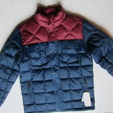 Men's Quicksilver 'Ghost Tree' Navy Blue Burgundy Down Winter Snow Ski Jacket M