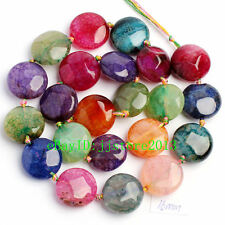 16mm Natural Faceted Cracked Multicolor Agate Coin Shape Loose Beads Strand 15""