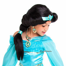 Aladdin Princess Jasmine Girl Costume Black Long HAIR WIG Cameo Gem DISNEY STORE