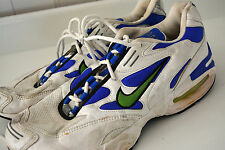 Vintage NIKE AIR MAX TRIAX 90s Sneakers Mens Sz 11 White Blue Swoosh RARE! #L18