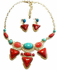 Necklace With  FREE Earrings Reconstituted Turquoise And Resin Red Coral
