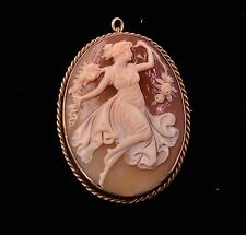 Vintage 12K Scenic Hand Carved Shell Cameo Brooch/Pendant