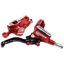 Hope Tech3 X2 Front And Rear Brakes in Red, Braided Hoses