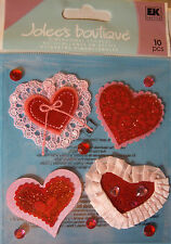 NEW 10 pc HEARTS AND LACE Heart Glitter Gems JOLEE'S BOUTIQUE 3D Sticker