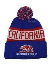 Mens California Republic Cali Bear Cuffed Pome Beanie Hat Skull Cap - Blue(Red)