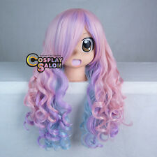 Purple Mixed Blue Pink Curly 70cm Women Girl Party Long Cosplay Wig Halloween