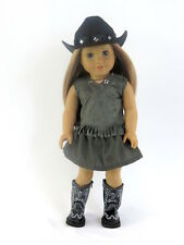 Western Cowgirl Outfit w/ Boots & Hat Fits 18 Inch American Girl Doll Clothes