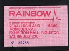 1981 Rainbow Rose Tattoo concert ticket stub Edinburg Scotland Blackmore Glover
