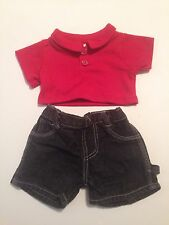 "Build A Bear Workshop BABW  Red Top Shirt Shorts Outfit Plush 14""18"" Boy Clothes"
