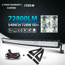5D 54Inch CREE 728W Curved LED Light Bar + Mount Bracket Fit Ford F-150 Pickup