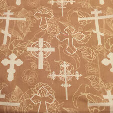 "Religious Crosses Light Brown w White Crosses Ivory Flowers 1yd, 29"" x 44""w"