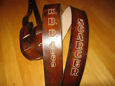 """GUITAR STRAP LEATHER ANTIQUE BROWN CUSTOM MADE ( WITH YOUR NAME) 2 1/2"""" WIDE"""