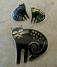 "Signed Laurel Burch Enamel Black ""Keshire Cat"" Pin Brooch Clip-On Earring Set"