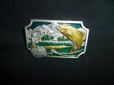SISKIYOU BUCKLE CO. FLY FISHING ENAMEL PEWTER BELT BUCKLE MADE IN USA
