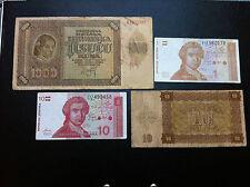 CROATIAN MONEY - 1000 KUNA 1941, 10 KUNA 1941, 10 DINARA 1991, 1 DINAR 1991 !