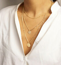 Gemma Bohemia Multilayer Chain  Necklace Gift  Women Girl Gold Plated