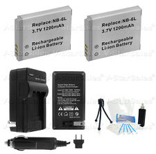 2x NB-6L NB-6LH Battery + Charger f/ Canon Powershot D10 D20 S90 S95 SD770 SD980