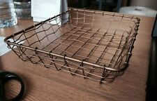 Small Low Copper Wire Basket Desk Top Storage Office Paper Tray Organiser Tidy