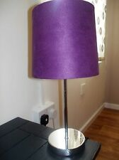 TOUCH FAUX SUADE TABLE/BEDSIDE LAMP AUBERGINE NEW BOXED ONE TOUCH SENSITIVE ONOF