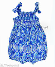 RARE EDITIONS 3 - 9 months Blue Smocked Bubble Snap-on Baby Romper Dress ~ New
