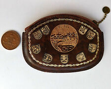 Vintage coin purse tooled leather Villach Austrian town embossed coats of arms