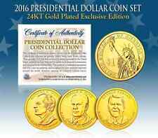 2016 U.S. MINT 24K GOLD PRESIDENTIAL $1 DOLLAR COINS * COMPLETE SET OF 3 *
