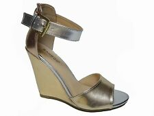 Bamboo Black Nude Gold Beige Silver Wedge Ankle Strap Heels Sandals Shoes