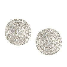 GLITZY PAVE CLEAR CUBIC ZIRCONIA SPIRAL DOME STYLE EARRINGS BRIDAL