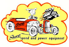 SHARP SPEED & POWER EQUIPMENT DRAG RACE HOT RAT ROD DECAL VINTAGE LOOK STICKER
