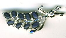 925 Sterling Silver Brooch  Navy Blue Cats Eye Bunch of Grapes Length 2.1/8""