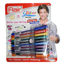 Flair Glitter Gel Pen.10 Sparkling Color Pens For Tattoos / Cards & Coloring's..