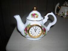 Royal Albert Old Country Roses 1962 Miniature Teapot Clock Fine Bone China  RARE